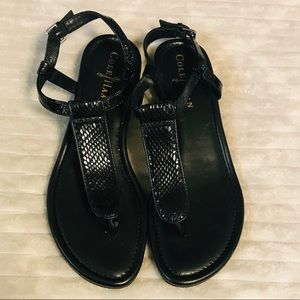 Cole Haan Black Snakeskin Leather T Strap Sandals